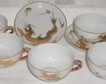 Dragonware Set of 5 Cups and 2 Saucers