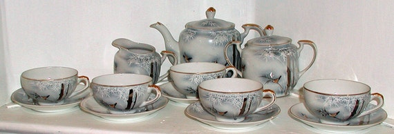 Blue and Gray Lithophane Tea Set