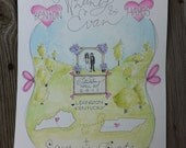 Save the Date Illustrated Wedding Calligraphy Watercolor