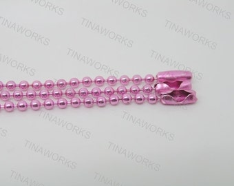 30pcs 24'' Pink Ball Chain Necklace 2.4mm Bead Lead Free Best For Scrabble Tiles, Dog Tag, Glass Pendant