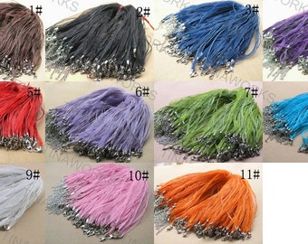 50pcs 17''  Mix Colors Voile Organza Ribbon Necklace Cord With Lobster Clasp&5cm Extension Chain