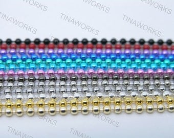 30pcs 18'' Mix-colors Ball Chain Necklace 2.4mm Bead Lead Free Best For Scrabble Tiles, Dog Tag, Glass Pendant