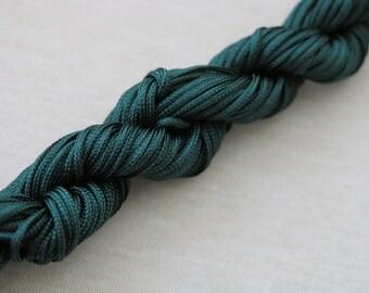 18YD 1.5mm Dark Green Chinese Knotting Cord / Braided Nylon Bead Cord