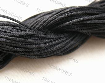 72Feet 1mm Black Chinese Knotting Cord / Braided Nylon Bead Cord