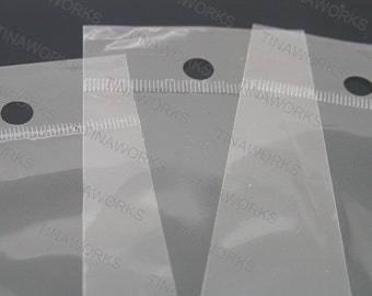 100pcs Clear Self Adhesive Plastic Cello Bag 6x30cm With Hanging Header Best for Necklace Packing