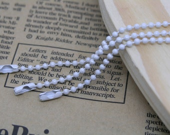 30pcs 18'' of White Ball Chain Necklace 2.4mm Bead Lead Free Best For Scrabble Tiles, Dog Tag, Glass Pendant