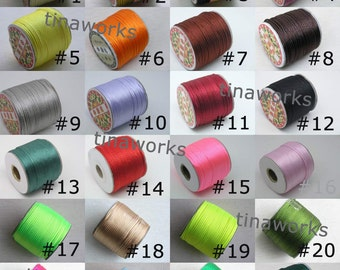 24 Optional Colors 50Yard of Size 2.0mm Satin/Rattail Silk Cord for Necklace Bracelet Beading Cord
