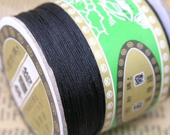 350YD 0.4mm Black Chinese Knotting Cord / Braided Nylon Beading Thread