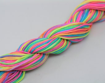 33Yard 1.0mm Colorful/Rainbow Chinese Knotting Cord / Braided Nylon Bead Cord