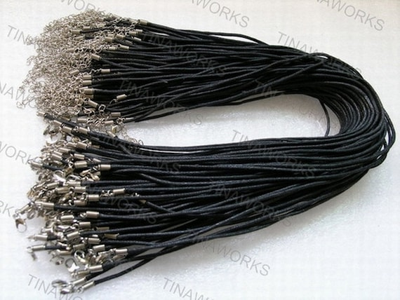 100pcs 17'' Black Waxed Cotton Cord Necklace With Lobster Clasp&5cm Extension Chain size 1.5mm