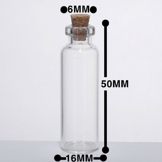 20pcs Small Clear Glass Bottle Vial Charm Pendant 16x50mm- Glass Bottle with Cork and Silver Eyehook