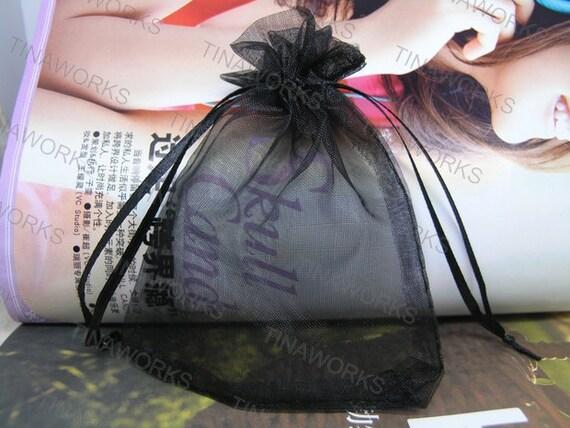 100pcs Black Organza Gift Bag with Ribbon Draw String--2.75''x3.54''