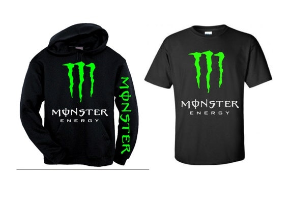 monster energy motocross combo black neon green hoodie w. Black Bedroom Furniture Sets. Home Design Ideas