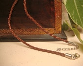 46cm / 18 inch Braided Brown Leather Necklace Cord, Item M10b - 1pc
