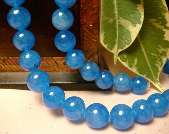 "10mm Stellar Blue Jade Round Beads, Item M143bx - 7.5"" Strand"