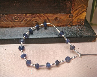 3mm iolite faceted rondelle deep blue genuine gemstone beads, Item M292- 3pcs
