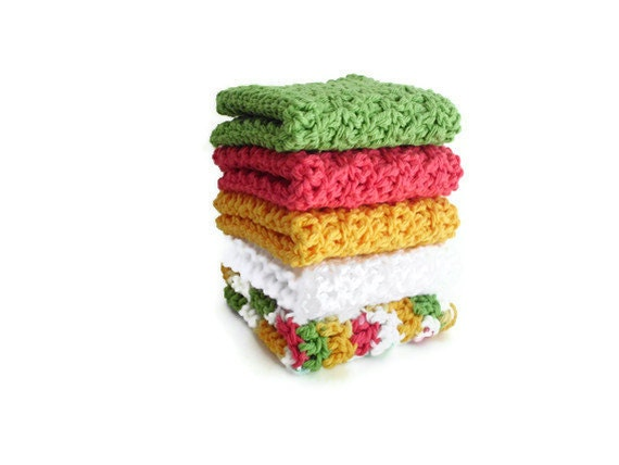 Crochet Washcloths - Crochet Dishcloths - 100% Cotton - Set of Five