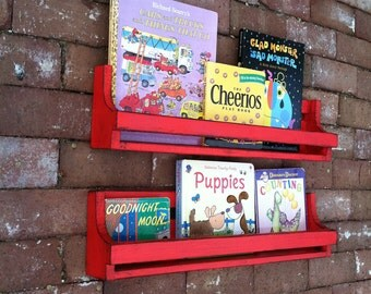 Childrens red distressed book shelves, set of 2