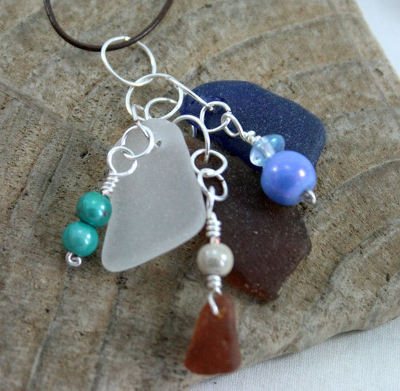 "Seaglass Pendant, 16"" Necklace, Beach Glass, Blue and White, Amber, Beaded, Charm Style, OOAK, Jewelry by LovejoyDesign"