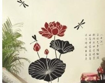 Lotus Dragonfly Chinese Words  Nature Vinyl Wall Paper Decal Art Sticker Q172