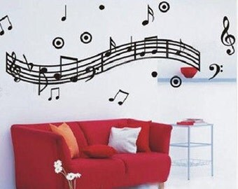 Wide 120cm Music Note   Nature Vinyl Wall Paper Decal Art Sticker Q181