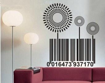 100x88cm Flowers Barcode  Nature Vinyl Wall Paper Decal Art Sticker Q312