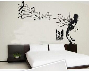 100x72cm Music Man  Nature Vinyl Wall Paper Decal Art Sticker Q320
