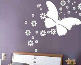Beautiful Butterfly and 50pcs flowers  Nature Vinyl Wall Paper Decal Art Sticker Q140