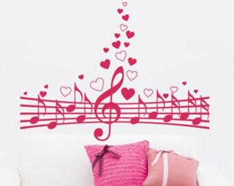 Wide 120CM Heart Music Note  Nature Vinyl Wall Paper Decal Art Sticker Q528