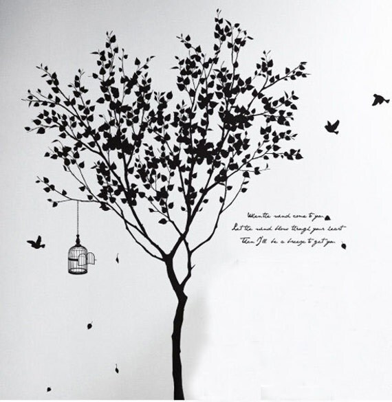 Hight 185cm Birds Cage Words Tree Nature Vinyl Wall Paper Decal Art Sticker Q3