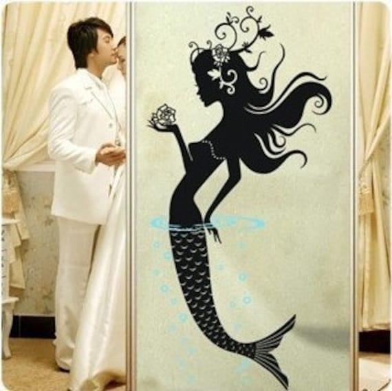 96x45CM Beautiful Mermaid   Nature Vinyl Wall Paper Decal Art Sticker Q12