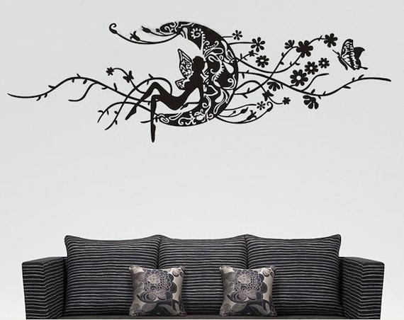 150x50CM Angel Moon Flowers Butterfly   Nature Vinyl Wall Paper Decal Art Sticker Q120