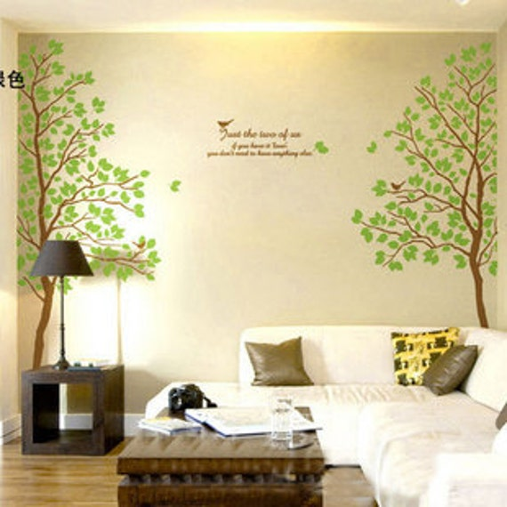 Hight 170CM Love Trees Birds Words  Nature Vinyl Wall Paper Decal Art Sticker Q457