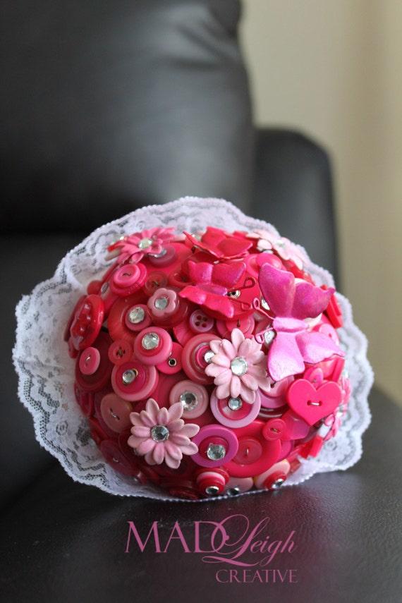 Vintage inspired Pretty in Pink button bouquet lace satin rhinestone flowersbutterflies