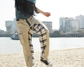 STUBBORN Baggy Trousers with Checked Pattern - Cargo