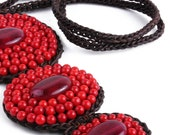Red Sunline Vegan Stone Necklace