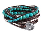 Turquoise Blue Beaded Wax Cord Vegan Wrap