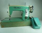 Vintage 1958 Turquoise Blue/ Mint Green Brother Sewing Machine