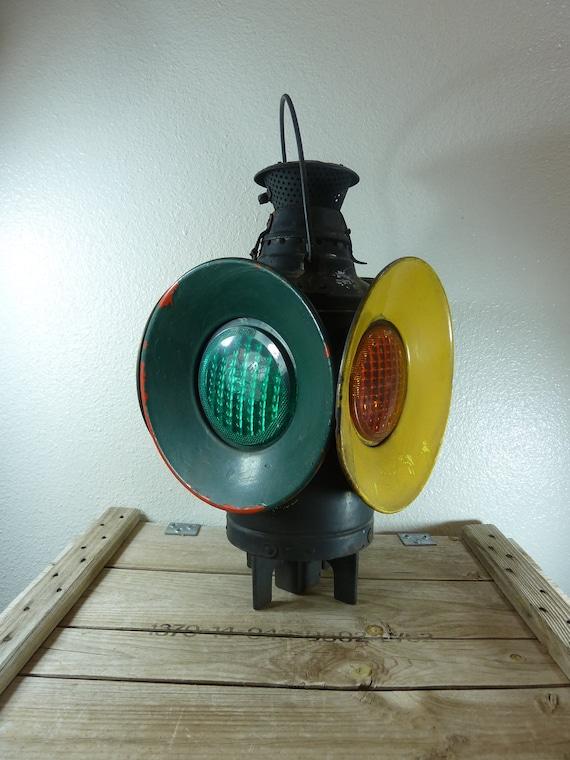 Vintage Dressel Railroad Lantern 4 Lens Yellow and Green Arlington NJ Oil Lamp. Switch Signal Lantern