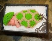 Newborn Crochet Turtle Costume or Photo Prop