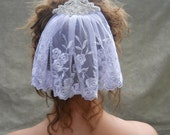 White Embroidered Lace Mini Mantilla Veil Head Piece w/ Rhinestone Crystal Comb by Leelee's Bridal Accessories on Etsy