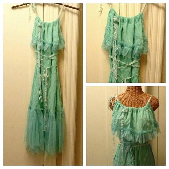 RESERVED Mermaid Goddess Dress Beach Ultramarine Green Seafoam Wedding Fits Sizes XS, S, M, L Womens Cotton Gauze Ready to Wear