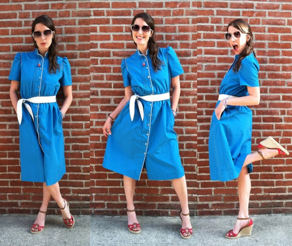 1970's Bright True Blue With White Piping Pintuck Puff Short Sleeve Midi Dress Size M