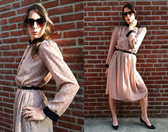 High waisted Secretary Midi Dress with Birds &  Epaulet Puff Sleeves Size XS/S/M