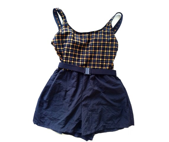 Blue Orange Yellow and White Plaid Belted Swimsuit Romper with Shorts Size M-L