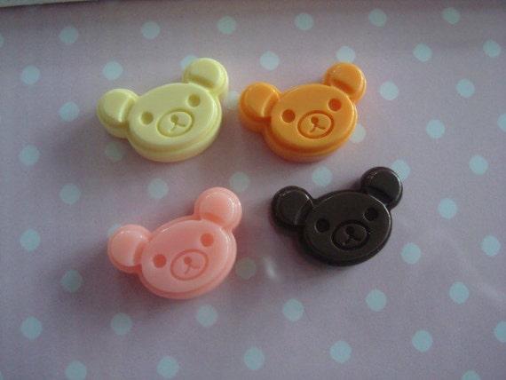 4pcs Cute Bear Cookie flatback cabochon