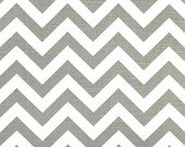 Grey White Chevron - 2 yards Ash / White Slub Zig Zag - Premier Prints - Home Decor Weight