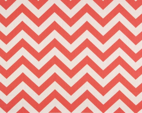 1 YARD - Coral Chevron  - Zig Zag Fabric - Coral / White Zig Zag - Premier Prints - Home Decor Weight