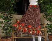 Brown Long Skirt , Good Rayon fabric, Flower pattern, Good design