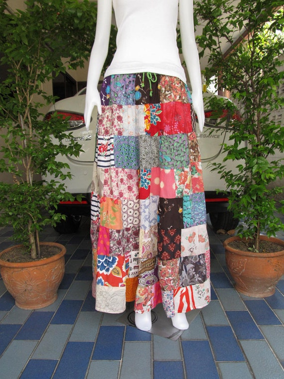 Colorful Boho Gypsy Hippie Patchwork Long skirt , Good design